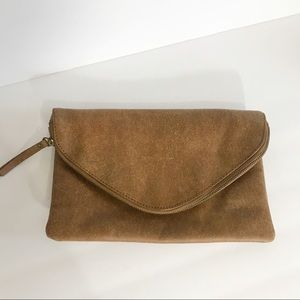 J. Crew Distressed Brown Leather Envelope Clutch